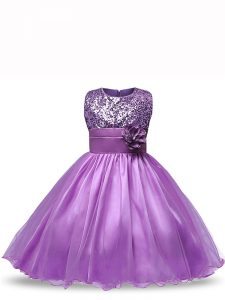 Exquisite Organza Scoop Sleeveless Zipper Sequins and Hand Made Flower Little Girls Pageant Dress in Purple