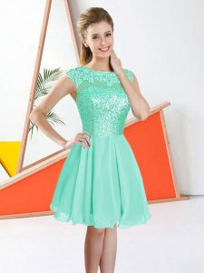 Ideal Turquoise Bateau Backless Beading and Lace Quinceanera Court Dresses Sleeveless