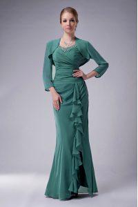 Floor Length Green Mother Of The Bride Dress Chiffon Sleeveless Beading