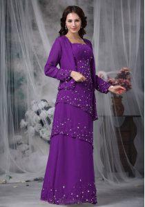 Stunning Floor Length Purple Mother Of The Bride Dress Chiffon Sleeveless Beading
