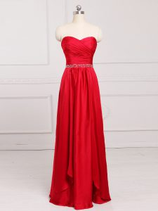 Floor Length Red Bridesmaids Dress Sweetheart Sleeveless Zipper