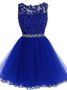 Mini Length Royal Blue Prom Dresses Scoop Sleeveless Zipper