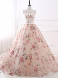Elegant Pink Going Out Dresses Prom and Military Ball and Sweet 16 with Lace and Appliques and Belt Scoop Sleeveless Bru