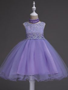 Lavender Zipper Scoop Beading and Lace Flower Girl Dresses Organza Sleeveless