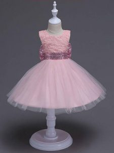 Top Selling Sleeveless Tulle Knee Length Zipper Little Girls Pageant Gowns in Baby Pink with Lace and Bowknot