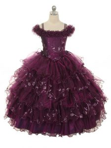 Floor Length Burgundy Little Girl Pageant Gowns Organza Sleeveless Ruffles and Ruffled Layers