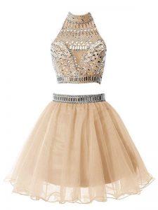 Champagne Zipper High-neck Beading Damas Dress Organza Sleeveless