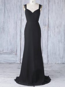 Black Wedding Party Dress Prom and Party and Wedding Party with Appliques Straps Sleeveless Sweep Train Zipper