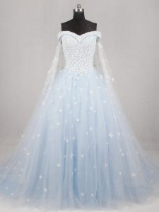 Sweet Light Blue A-line Tulle Off The Shoulder Sleeveless Appliques Lace Up Bridal Gown Watteau Train