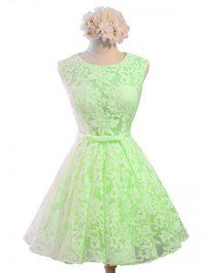 Chic Belt Bridesmaids Dress Lace Up Sleeveless Knee Length