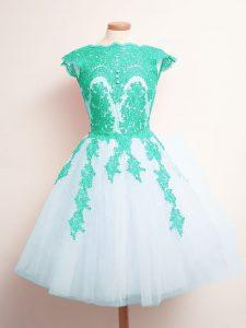 Classical A-line Vestidos de Damas Multi-color Scalloped Tulle Sleeveless Mini Length Lace Up