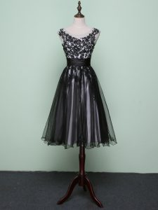 Tulle Sleeveless Knee Length Club Wear and Lace and Appliques