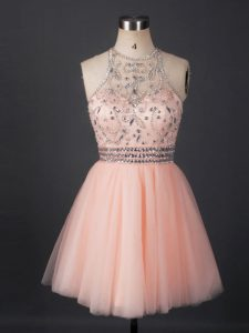 Hot Sale Peach Tulle Lace Up Scoop Sleeveless Mini Length Cocktail Dresses Beading
