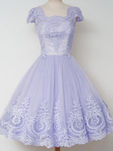 Simple Knee Length Lavender Bridesmaid Dress Tulle Cap Sleeves Lace