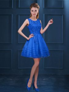 Blue Quinceanera Court of Honor Dress Prom and Party with Lace and Ruffled Layers Scoop Sleeveless Zipper