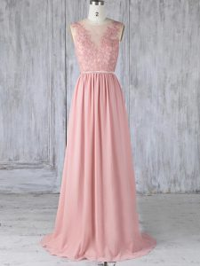 Scoop Sleeveless Sweep Train Backless Wedding Guest Dresses Pink Chiffon