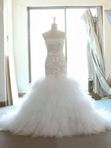 Tulle Sleeveless Wedding Dress Brush Train and Beading and Ruffles