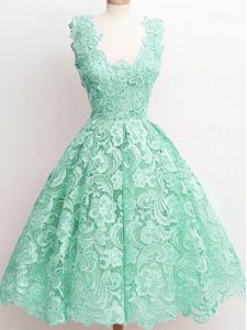Noble Sleeveless Zipper Knee Length Lace Quinceanera Court Dresses