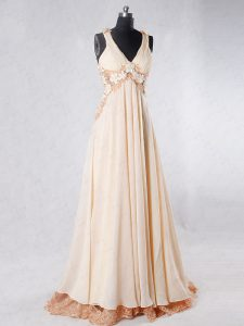 Inexpensive Champagne Sleeveless Chiffon Sweep Train Backless Prom Dress for Prom and Party
