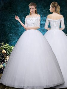 Latest White Scalloped Neckline Beading and Embroidery Wedding Dresses Half Sleeves Lace Up