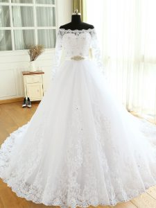 Trendy White A-line Tulle Scalloped Long Sleeves Beading and Lace and Appliques Zipper Wedding Dress Court Train
