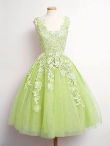 Unique Yellow Green A-line Tulle V-neck Sleeveless Lace Knee Length Lace Up Quinceanera Court of Honor Dress