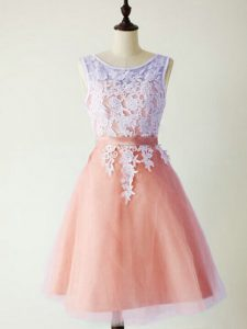 Sexy Peach Lace Up Scoop Lace Wedding Guest Dresses Tulle Sleeveless