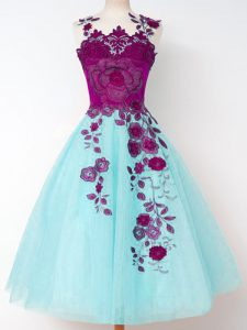 Aqua Blue Bridesmaid Gown Prom and Party and Wedding Party with Appliques Straps Sleeveless Lace Up