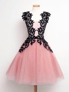 Pink Lace Up Straps Lace Court Dresses for Sweet 16 Tulle Sleeveless