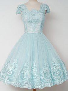 Aqua Blue Tulle Zipper Quinceanera Court Dresses Cap Sleeves Knee Length Lace