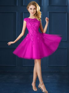 Cap Sleeves Lace and Belt Lace Up Bridesmaid Dress
