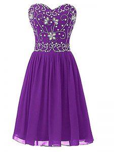 Decent Knee Length Eggplant Purple Custom Made Pageant Dress Sweetheart Sleeveless Zipper