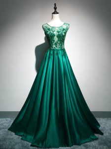 Dark Green Scoop Neckline Beading and Lace and Appliques and Embroidery Prom Dresses Sleeveless Backless