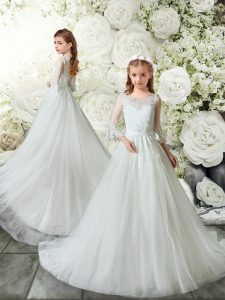White Scoop Clasp Handle Lace Flower Girl Dresses Brush Train 3 4 Length Sleeve