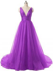 Flirting Eggplant Purple Organza Backless Prom Dresses Sleeveless Ruching