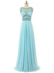 Pretty Aqua Blue Sleeveless Beading Floor Length Prom Evening Gown