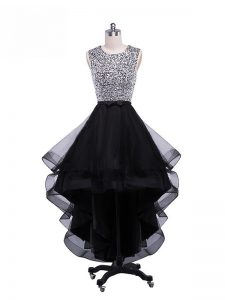 Noble Black Scoop Neckline Beading and Ruffles Prom Gown Sleeveless Zipper