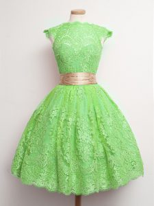 Spectacular Green Dama Dress Prom and Party and Wedding Party with Belt High-neck Cap Sleeves Lace Up