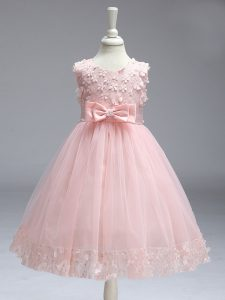 Lovely Sleeveless Lace and Bowknot Zipper Girls Pageant Dresses