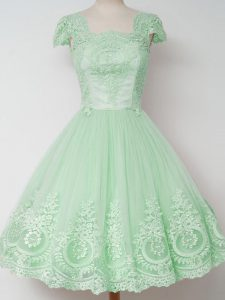 Apple Green Cap Sleeves Knee Length Lace Zipper Bridesmaid Gown