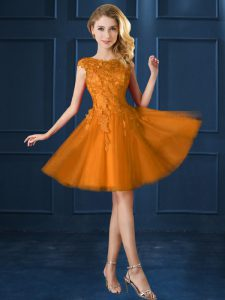 Gold Tulle Lace Up Bridesmaids Dress Cap Sleeves Knee Length Lace and Belt