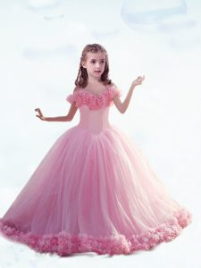 Sleeveless Court Train Hand Made Flower Lace Up Little Girl Pageant Gowns
