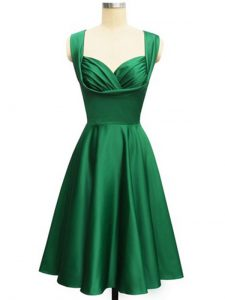 Green Lace Up Quinceanera Court of Honor Dress Ruching Sleeveless Knee Length