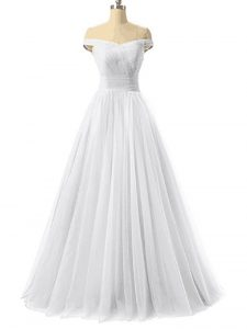 White A-line Tulle Off The Shoulder Sleeveless Ruching Floor Length Lace Up Prom Gown