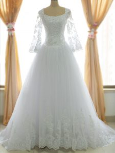 Pretty White Wedding Gowns Tulle Brush Train Sleeveless Lace and Appliques