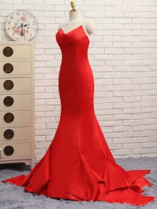 Pretty Red Sweetheart Neckline Ruching Prom Gown Sleeveless Zipper