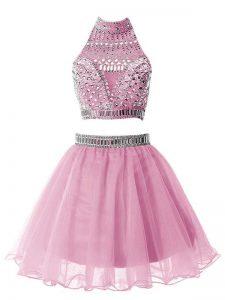 Custom Design A-line Court Dresses for Sweet 16 Lilac High-neck Organza Sleeveless Knee Length Zipper
