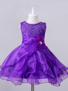 Eye-catching Purple Sleeveless Knee Length Beading and Hand Made Flower Zipper Flower Girl Dresses