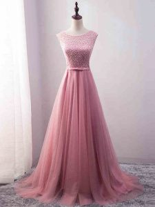 Zipper Dress for Prom Pink for Prom and Party and Military Ball and Beach with Beading and Belt Brush Train