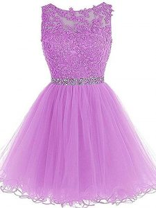 Pretty Lilac Tulle Lace Up Cocktail Dress Sleeveless Mini Length Beading and Lace and Appliques